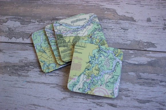 Nautical Map Hardboard Coasters