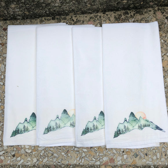Watercolor Mountain Dinner Napkins