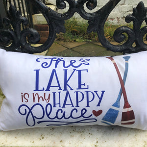 The Lake is My Happy Place Rectangle Pillow