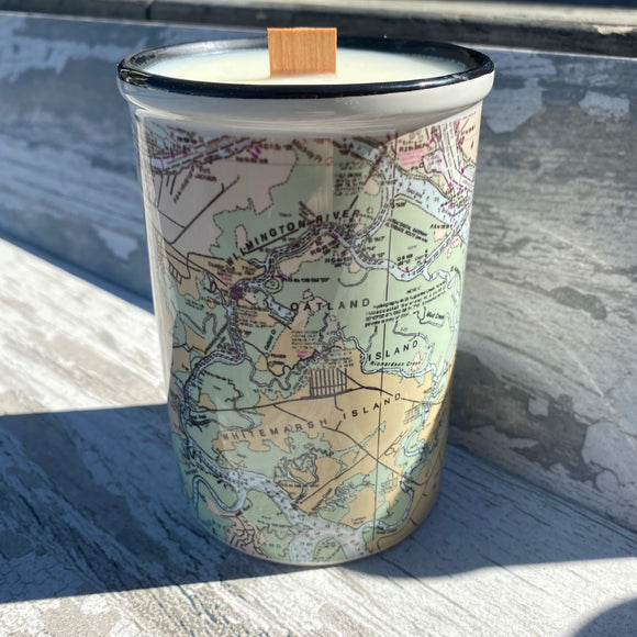 Nautical Map Ceramic Candle