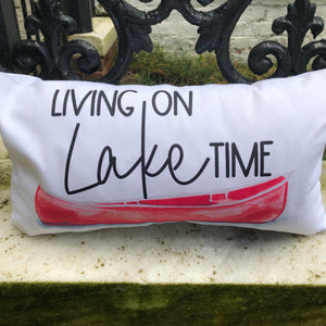 Living on Lake Time Rectangle Pillow