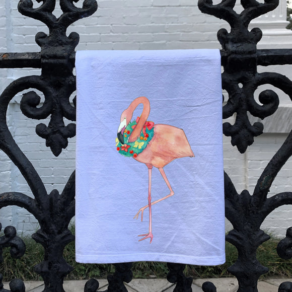 Watercolor Christmas Flamingo Kitchen Towel