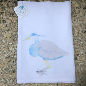 Watercolor Sitting Heron Towel