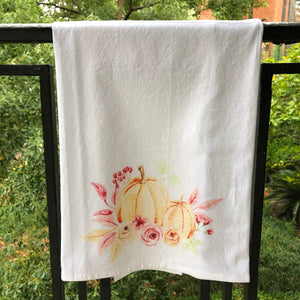 Watercolor Pumpkin Bouquet Towel