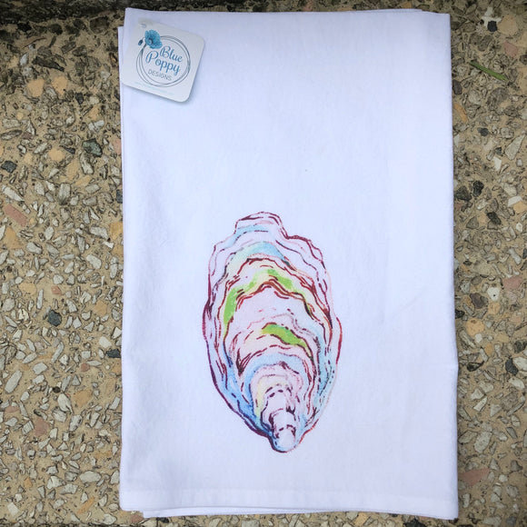 Watercolor Oyster Back Kitchen Towel