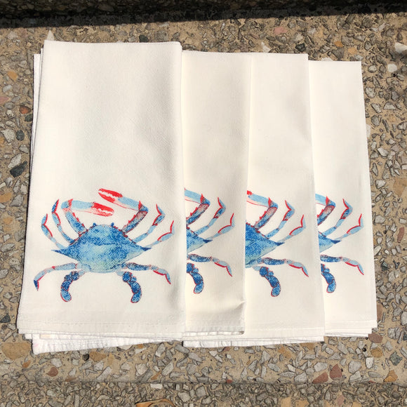 Watercolor Crab Dinner Napkins