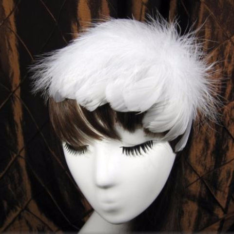 50s Inspired Feather Hat Headband (Choose Color)