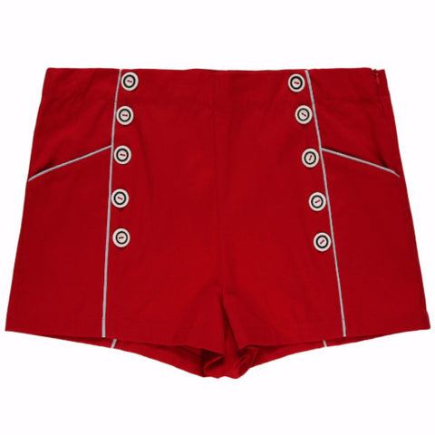 50s Red High Waisted Shorts with Buttons