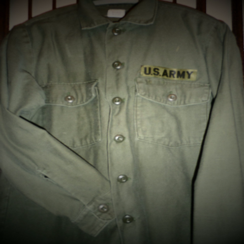 60s Vietnam US Army Military Shirt - Olive Green - Cotton - Medium