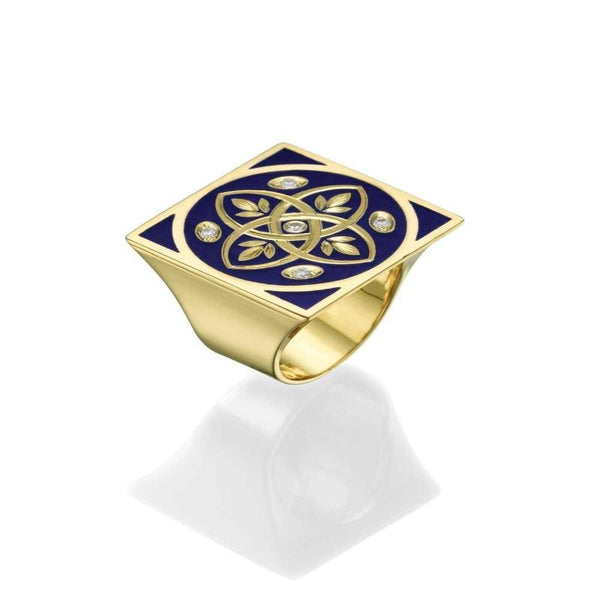 Antique 14K Style Yellow Gold Women's Signet Ring - Faberge Blue Enamel 0.10ct Diamonds