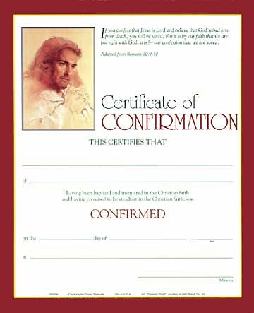 Full-Color Confirmation Certificate (Package of 6)