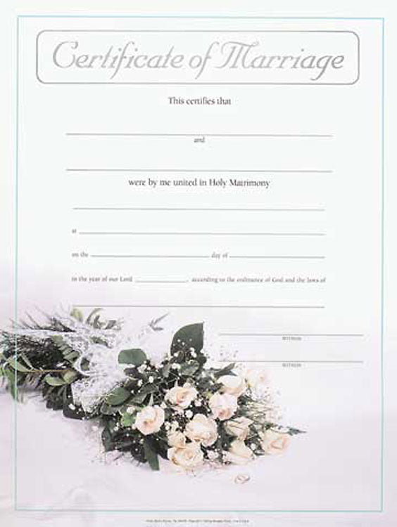 Large Marriage Flat Certificate (Package of 3)