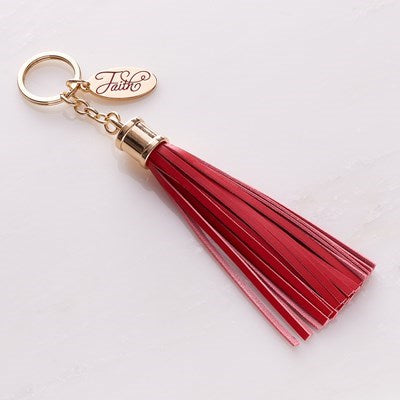 Leather Tassel Faith Keyring in Red