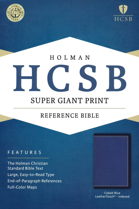 HCSB Super Giant Print Reference Bible, Cobalt Blue LeatherTouch, Indexed