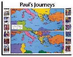 Chart-Paul's Journeys Then And Now  (Laminated)