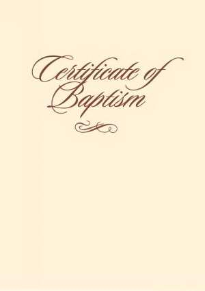 "Certificate-Baptism w/Romans 6:3-4-Folded w/Envelope (5"" x 7"") (Pack of 6)"