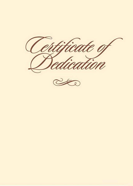 "Certificate-Dedication-Folded w/Envelope (Ephesians 6:4b) (5"" x 7"") (Pack of 6)"