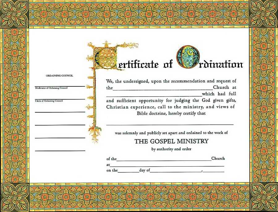 "Certificate-Ordination-Minister (4 Color) (8-1/2"" x 11) (Pack of 6)"