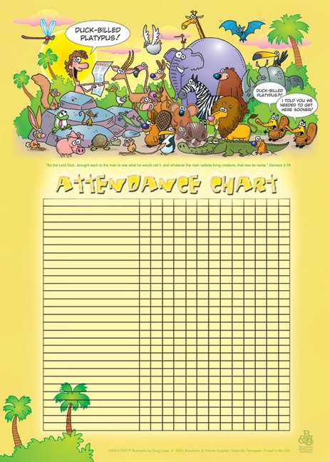 "Attendance Chart-Adam Names The Animals w/Genesis 2:19 (20"" x 28"")"