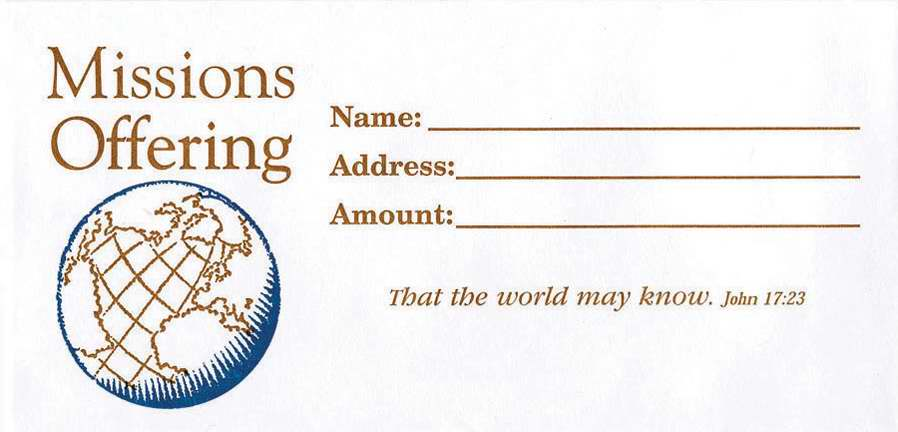 Offering Envelope-Missions Offering (John 17:23) (Bill-Size) (Pack Of 100)