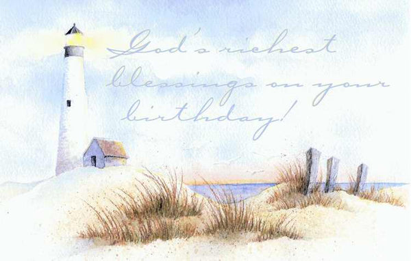 Postcard-Happy Birthday/Lighthouse (Romans 15:13 NIV) (Pack of 25)