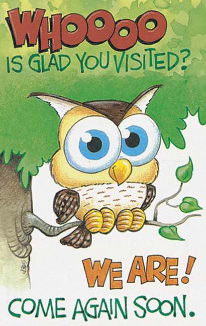 Postcard-Whooo Is Glad You Visited? We Are! (Owl) (2 Peter 1:11 NIV) (Pack of 25)