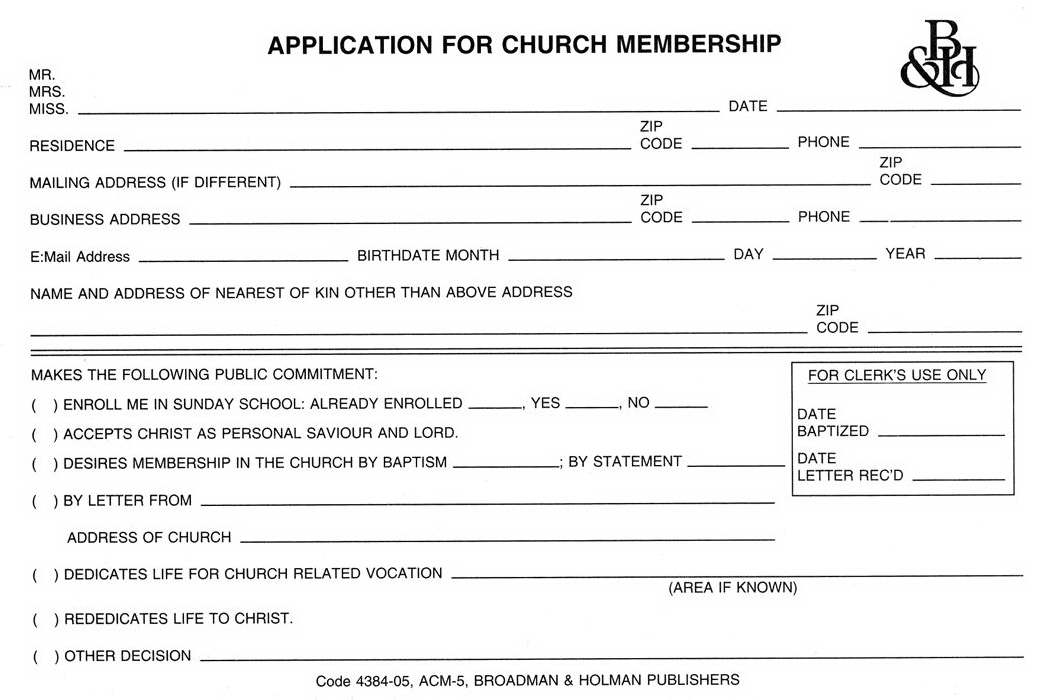Form-Application For Church Membership (Form ACM-5) (Pack of 100)