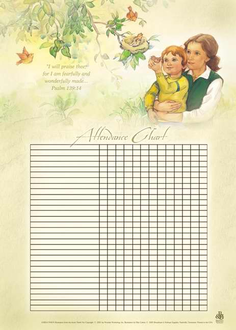 "Attendance Chart-Wonderfully Made w/Psalm 139:14  (20"" x 28"")"