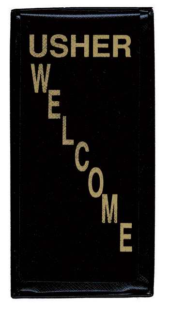 "Badge-Usher & Welcome-Lapel Pocket-Black (Pack Of 3) (2"" x 4-1/2"")"