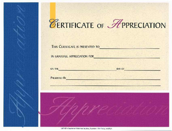 "Certificate-Appreciation (4 Color) (8-1/2"" x 11"") (Pack Of 6)"