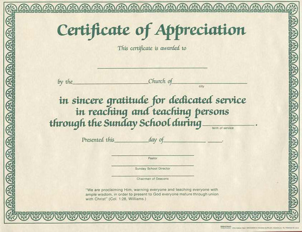 "Certificate-Appreciation-Sunday School Worker (8-1/2"" x 11"") (Pack of 6)"