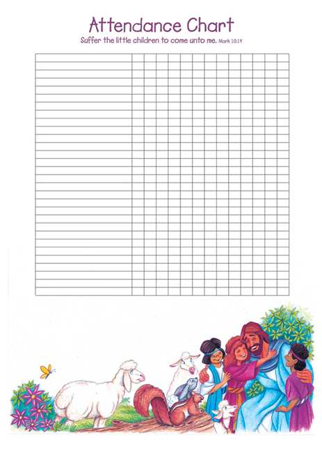 "Attendance Chart-Let The Little Children Come To Me w/Mark 10:14 (20"" x 28"")"