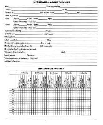 Form-Childrens Sunday School Group Record Book/11 Names (Form 186-S)