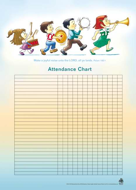 "Attendance Chart-Music/Children w/Psalm 100:1 (20"" x 28"")"