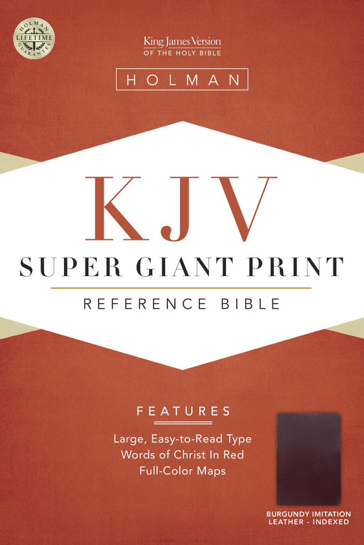 KJV Super Giant Print Reference Bible, Burgundy Simulated Leather Indexed
