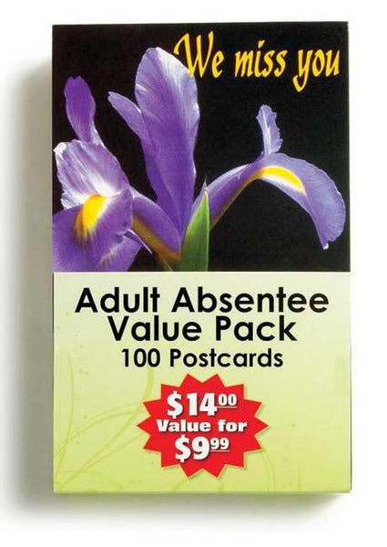 Postcard-Adult Absentee Value Pack (4 Designs) (Pack of 100)
