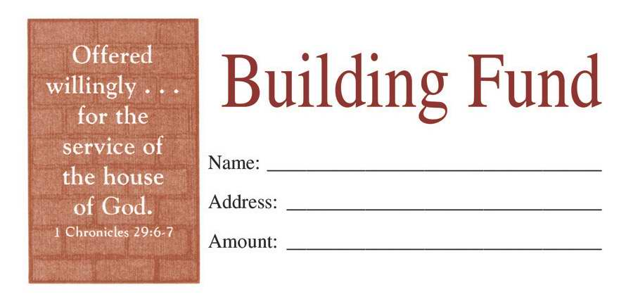 Offering Envelope-Building Fund (1 Chronicles 29:6-7) (Bill-Size) (Pack Of 100)