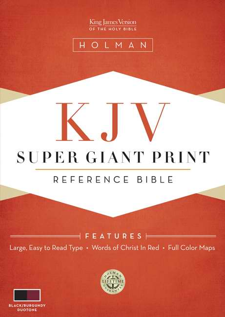 KJV Super Giant Print Reference Bible, Black/Burgundy Simulated Leather