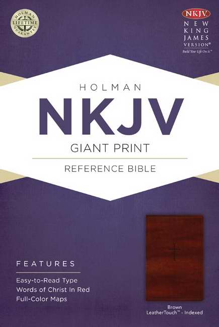 NKJV Giant Print Reference Bible, Brown LeatherTouch Indexed