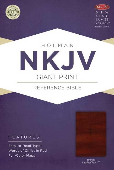 NKJV Giant Print Reference Bible, Brown LeatherTouch
