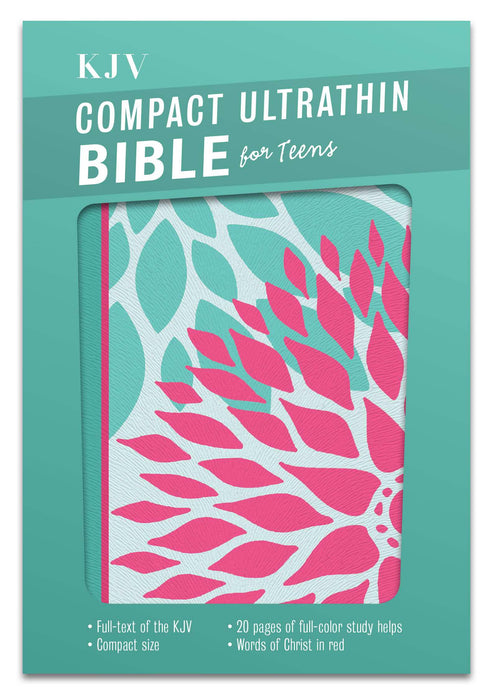KJV Compact Ultrathin Bible for Teens, Green Blossoms LeatherTouch