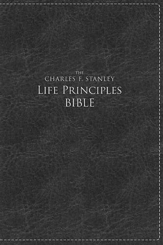 NKJV, The Charles F. Stanley Life Principles Bible, Large Print, Leathersoft, Black, Thumb Indexed