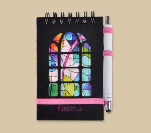 Purse Pal Notebook-Stained Glass-Faithful w/Pen & Band Closure/Plastic Cover