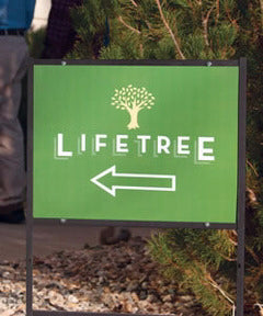 Lifetree Cafe Metal Direction Sign