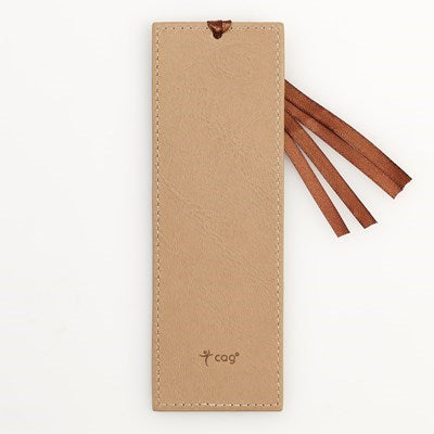 Footprints Tan Faux Leather Bookmark