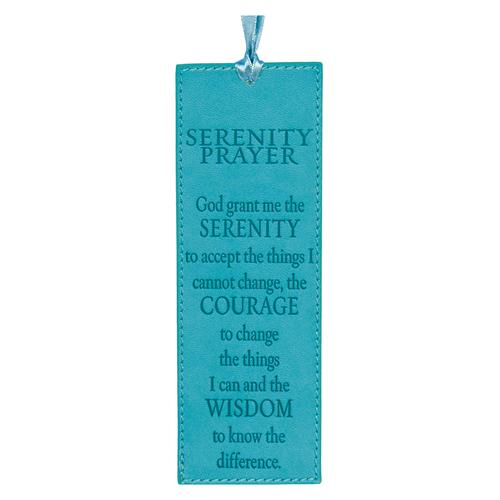 Turquoise Faux Leather Serenity Prayer Pagemarker / Bookmark