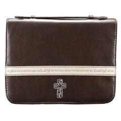 Bible Case Brown w/Cross - Large LuxLeather