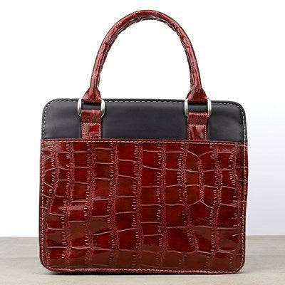 Burgundy Crocodile Embossed Purse-style Fashion Bible Cover