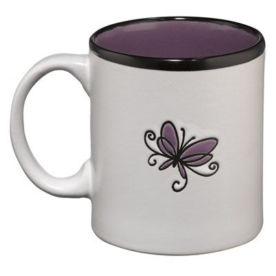 Grace on white With Purple Interior 2 Corinthians 12:9 Coffee Mug