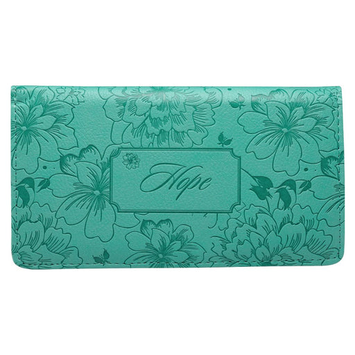 """Hope"" Turquoise Floral Checkbook Cover"